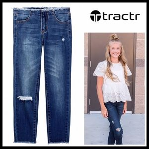 TRACTR DENIM FRAYED STRETCH BLUE JEANS A3C